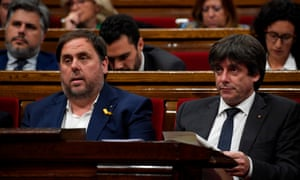 Carles Puigdemont (right) and Oriol Junqueras at a session at the Catalan parliament in Barcelona in October