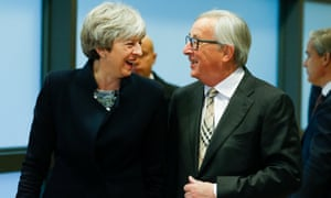 Brexit Negotiation Meeting At EU Headquarters In Brussels(171204) -- BRUSSELS, Dec. 4, 2017 (Xinhua) -- European Commission President Jean-Claude Juncker (R) greets British Prime Minister Theresa May prior to a Brexit negotiation meeting at EU headquarters in Brussels, Belgium, Dec. 4, 2017. (Xinhua/Ye Pingfan) (swt)PHOTOGRAPH BY Xinhua / Barcroft Images