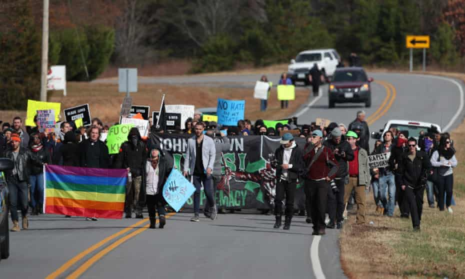 'There was no Klan and there were no spectators' … anti-KKK protesters march outside Danville, Virginia.