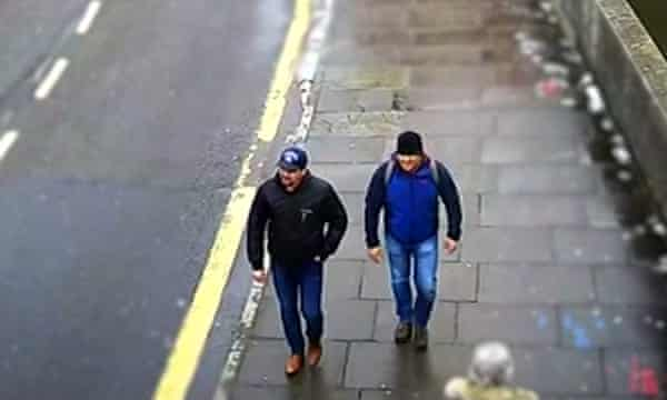 Video footage of Alexander Yevgenyevich Mishkin and Anatoliy Chepiga in Salisbury in 2018.