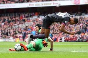 Cech saves, at the feet of Calvert-Lewin.