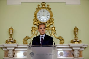 The governor of the Bank of England Mark Carney today