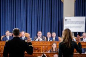 Jennifer Williams and Alexander Vindman are sworn in prior to testifying.