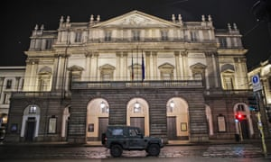 A military vehicle outside La Scala opera house in Milan, northern Italy.