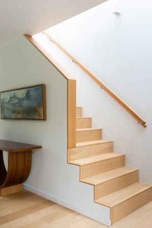 On the up: the clean lines of the staircase.
