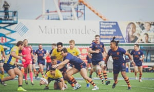 Rugby United New York, in blue, take on the Glendale Raptors at MCU Park in Coney Island, Brooklyn.