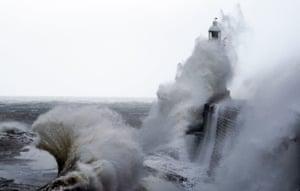 Tynemouth, EnglandA huge waves crash over the pier wall in Northumberland