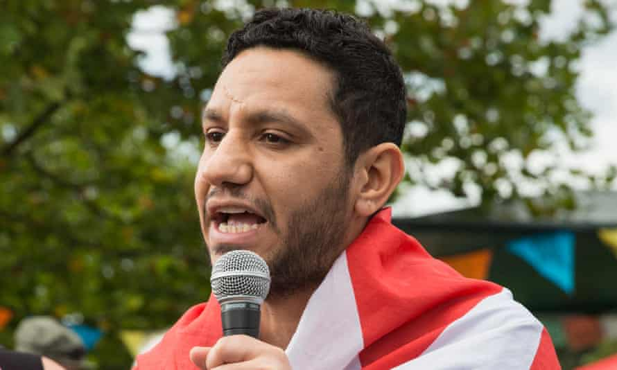Sayed Ahmed Alwadaei, of the Bahrain Institute for Rights and Democracy, addresses activists at a protest against the arms trade in 2017.