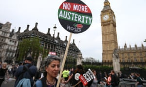 An anti-austerity protest on the day of the Queen's speech in May 2015