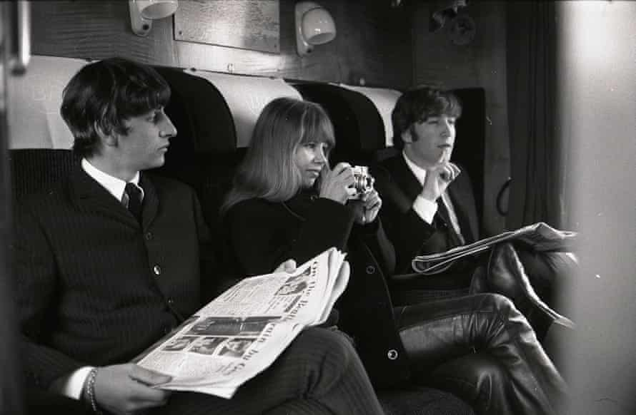 Astrid Kirchherr with Ringo Starr and John Lennon during the filming of A Hard Day's Night, in 1964