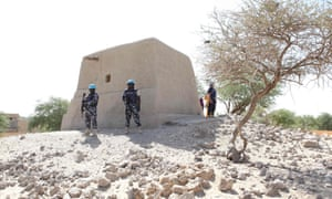 UN peacekeepers guard the mausoleum of Alpha Moya in Timbuktu.