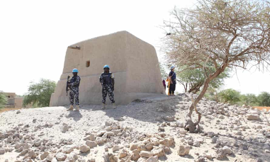 UN peacekeepers guard the mausoleum of Alpha Moya in Timbuktu.