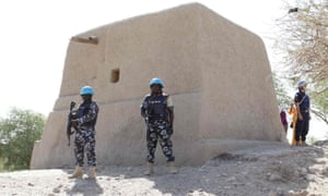 UN peacekeepers guard the mausoleum of Alpha Moya in Timbuktu in February