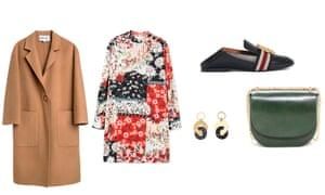 Coat, £375, bimbaylola.com. Dress, £49.99, mango.com. Shoes, £120, uterque.com. Earrings, £35, whistles.com. Bag, £135, stories.com