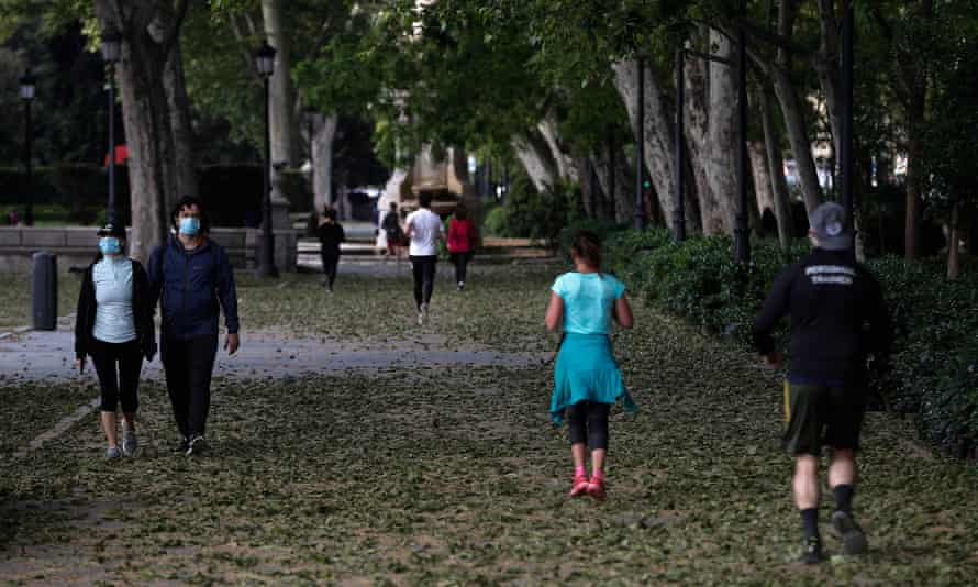 Madrid residents get back to exercising outside on the first day of the easing of lockdown restrictions.