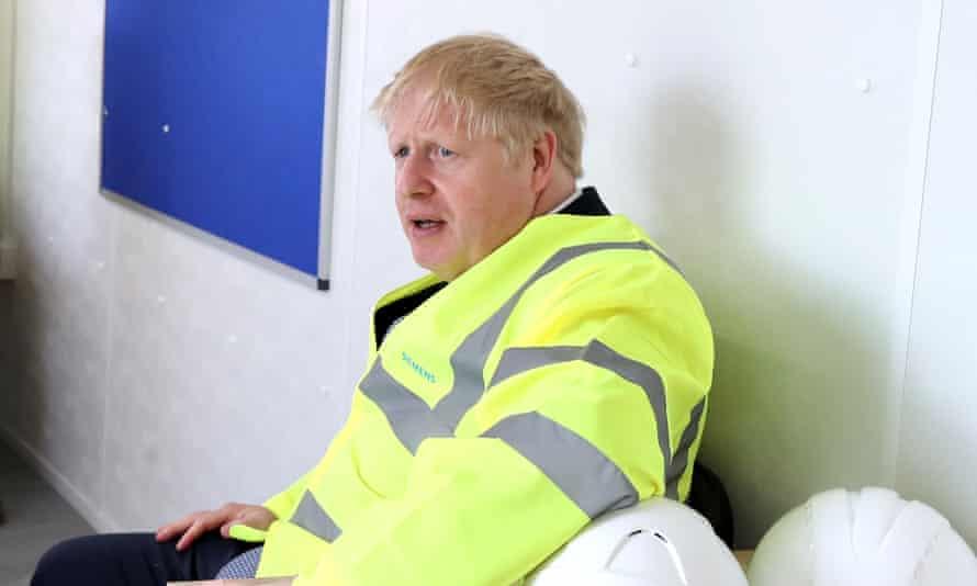 Boris Johnson in a high-vis jacket
