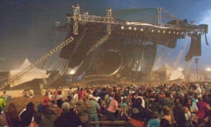 A collapsed stage killed seven people during a storm.