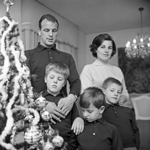 Footballer John Charles stands beside the Christmas tree with his wife Peggy and sons Terry, Peter and Melvyn at his home in Rome in 1962