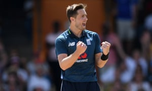 Chris Woakes from England indicates that Shimron Hetmyer of West Indies was away.