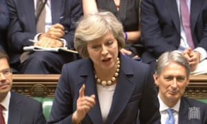 Theresa May speaks during PMQs in the House of Commons