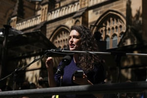 Jess Hill, author of See What You Made Me Do: Power, Control and Domestic Abuse, speaks at the March 4 Justice rally in Sydney