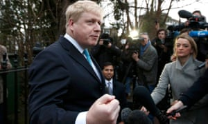 London Mayor Boris Johnson speaks to the media in front of his home in London, Britain February 21, 2016. Britain will hold a referendum on European Union membership on June 23. REUTERS/Peter Nicholls