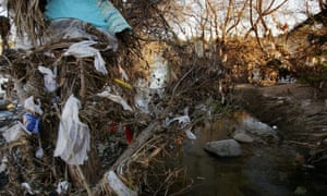 Plastic bags hang on trees in the Los Angeles River channel, after being washed away from streets and storm drains by rain