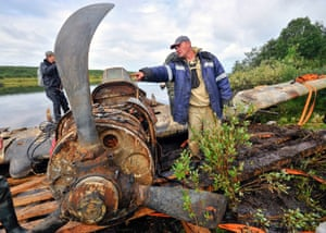 A second world war Ilyushin Il-2 ground attack aircraft retrieved from the bottom of a lake in Murmansk, Russia