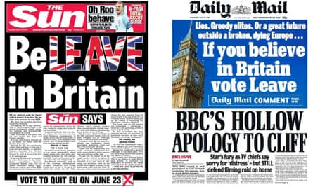 Sun and Daily Mail headlines backing Brexit