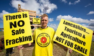 A protester against fracking at a farm site at Little Plumpton, Lancashire