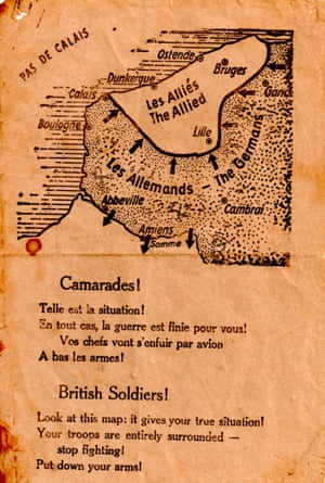 A German propaganda leaflet, dropped on to the beaches at Dunkirk,