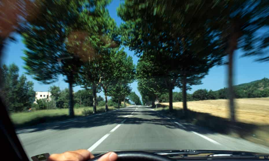 Driving along country roadMale hand on car steering wheel, driving on tree-lined rural road, France
