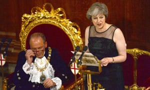 Theresa May addressing the annual lord mayor's banquet this week.