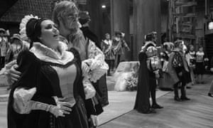 Soprano Montserrat Caballé is Luisa Miller and baritone Sherrill Milnes her father in the Metropolitan Opera's production of the early Verdi opera in 1968. In the background are bass Giorgio Tozzi and tenor Richard Tucker.