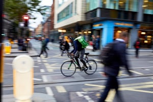 A cyclist working for Uber Eats in Manchester