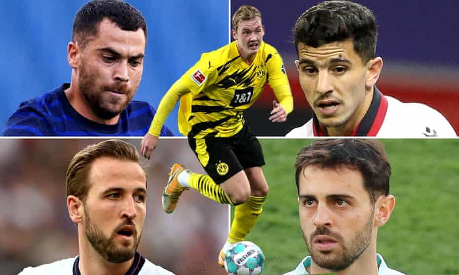 Clockwise: Téji Savanier, Julian Brandt, Youcef Atal, Bernardo Silva and Harry Kane.