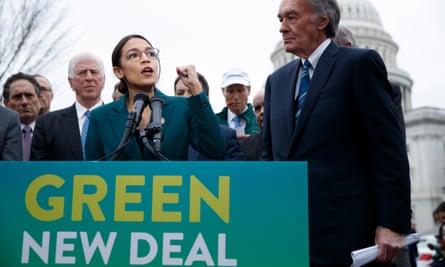 Alexandria Ocasio-Cortez, Democratic representative from New York, and Ed Markey, Democratic Senator from Massachusetts, introduce their Green New Deal resolution on 7 February.