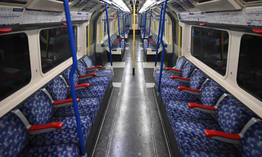 An empty Piccadilly Line train