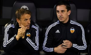 Phil and Gary Neville, assistant manager and manager of Valencia respectively, talk before a match at Estadio Mestalla in Valencia, Spain, in December 2015.