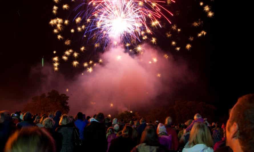 Bonfire night fireworks display at Heveningham Hall, Suffolk.
