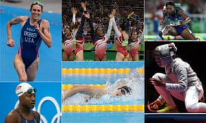 America's Olympic heroes, clockwise from left: triathlete Gwen Jorgensen, the all-conquering gymnastics team, hurdler Nia Ali, fencer Ibtihaj Muammad, and swimmers Katie Ledecky and Simone Manuel.