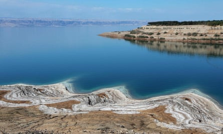 A general view shows the shoreline of the Dead Sea in Jordan.