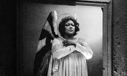 Christiane Eda-Pierre singing the Angel, a role she created, in Olivier Messiaen's opera Saint François d'Assise at the Paris Opera, 1983.