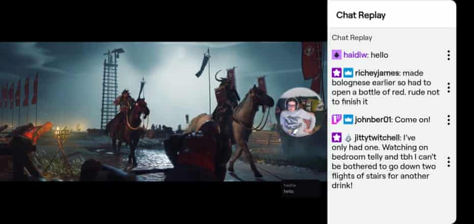 Chat playback on Twitch.