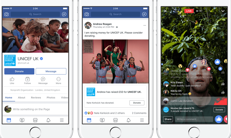 Unicef UK is trialling Facebook's new direct donate button on its pages.