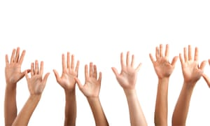 Raised hands on white background