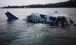 The site of an accident where a light plane crashed into the sea at the Isla Bonita Area, in Roatán, Honduras.