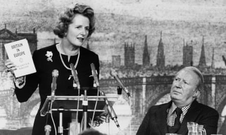 Edward Heath, right, appears alongside his successor as Tory leader, Margaret Thatcher, in May 1975.