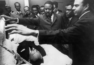 Martin Luther King Jr. (1929 - 1968) lying in state in Memphis, Tennessee.