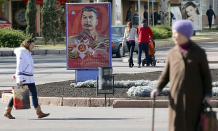 One of three Stalin portraits in the centre of Donetsk.